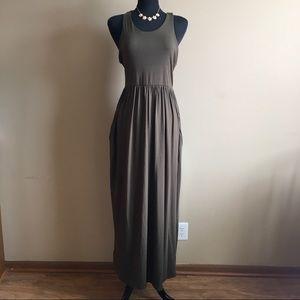 Olive Green Racerback Long Maxi Dress